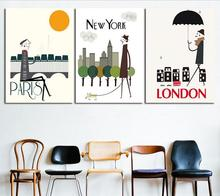 MODERN ABSTRACT HUGE WALL ART OIL PAINTING ON CANVAS PRINT FOR 3 PIECES COMBINATION I LOVE PARIS NEW YORK LONDON CITY