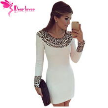 Dear Lover High Quality Winter Fashion Sexy Round Neck Long Sleeve Bodycon Studded Mini Dress vestido de manga comprida LC22591