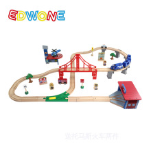 Thomas and Friends--70PCS Thomas Train Track Set Crane Farm Beech Wooden Railway Track EDWONE fit Thomas and Brio Gifts For Kids