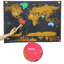 2017 Funny Scratch World Map Gags & Practical Jokes funny Toy Travel World Map Adult Stress Relieve Novelty Toy for Traveler(China)