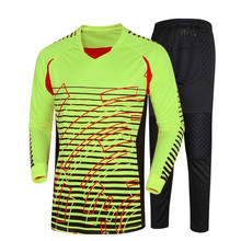 Men Goalkeeper Jerseys Soccer sets Sports Training pants Rugby Survetement Football 2017 Goal keeper Uniforms Tracksuit DIY Draw(China)