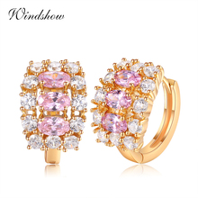 Three Oval Pink CZ w/ Zircon Stones Accent Gold Color Loop Huggie Small Hoops Earrings for Women Luxury Jewelry Aros Aretes(China)