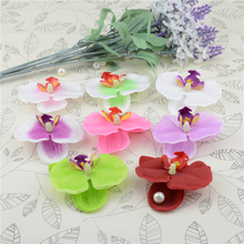 100pcs Wholesale Silk Butterfly Orchid Artificial Flower Head For Wedding Home Decoration Orchs Flores Cymbidium Flowers Plants(China)