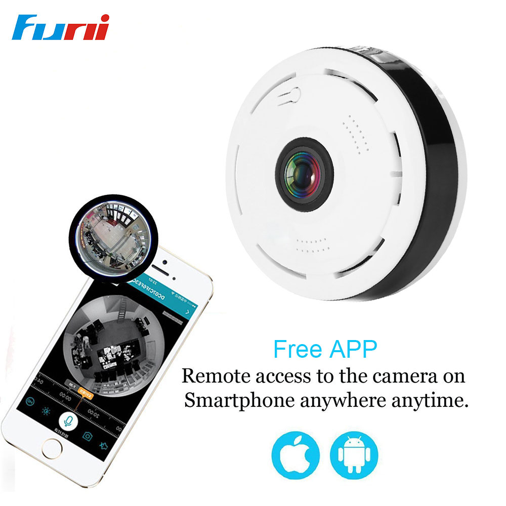 Funi 960P Panoramic WiFi HD Camera, Home Business Security IP Camera with Real Time 32ft Night View 360 Degree Wifi Ip Camera <br>