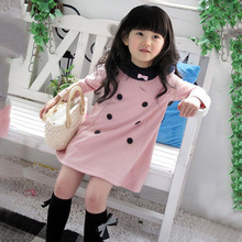 Factory Price! Girls Kids Dress Top Dress Long Sleeve 2-7 Y Baby Party 1-Piece Clothes Lovely