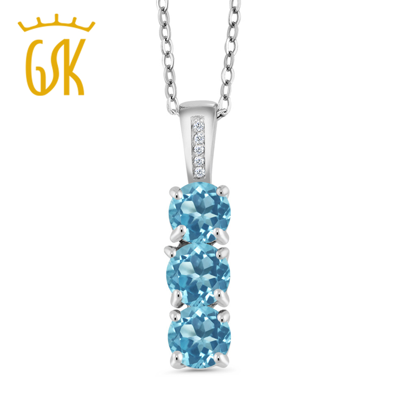 Three Gemstone Pendant Necklace For Women 1.69 Ct Round Natural Blue Topaz and Diamond 925 Sterling Silver Fine Jewelry