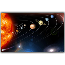 Solar System, Planets, Earth Science Satellite Cosmos Silk Canvas Posters, Children Bedroom Decoration Science Posters QT040