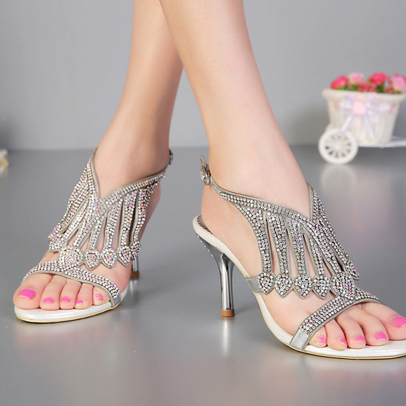 2016 Summer Sexy Silver High Heel Wedding Dress ShoesOpen Toe 3Inches  Rhinestone Sandals  Women Fashion Slingbacks Bridal Shoes<br><br>Aliexpress