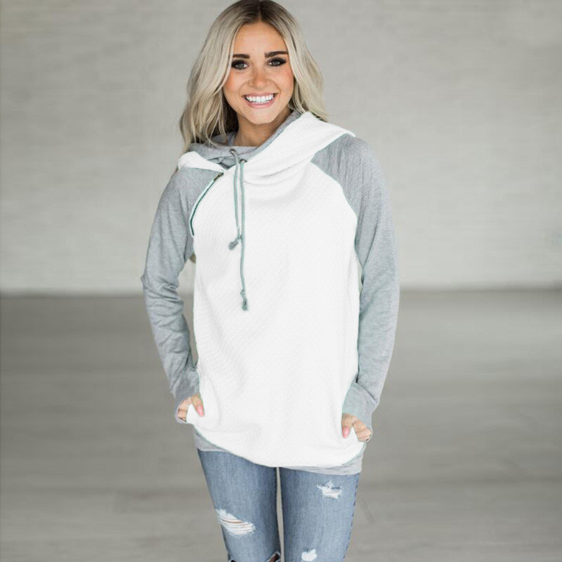 New Double Hood Sweatshirt, Women's Long Sleeve, Side Zipper Hooded Casual Pullover 13
