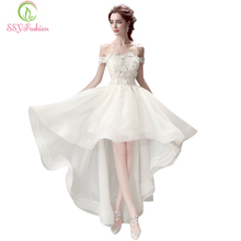 SSYFashion Luxury Princess Bride Wedding Dresses Boat Neck Lace Embroidery Beading Short Front Long Back Short Wedding Gowns