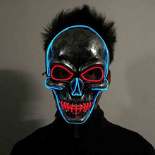 Halloween Horror Party Masks Masquerade Skull Head Mask Fashion LED Flashing Neon Light Luminous EL Wire Full Face Party Dress(China)