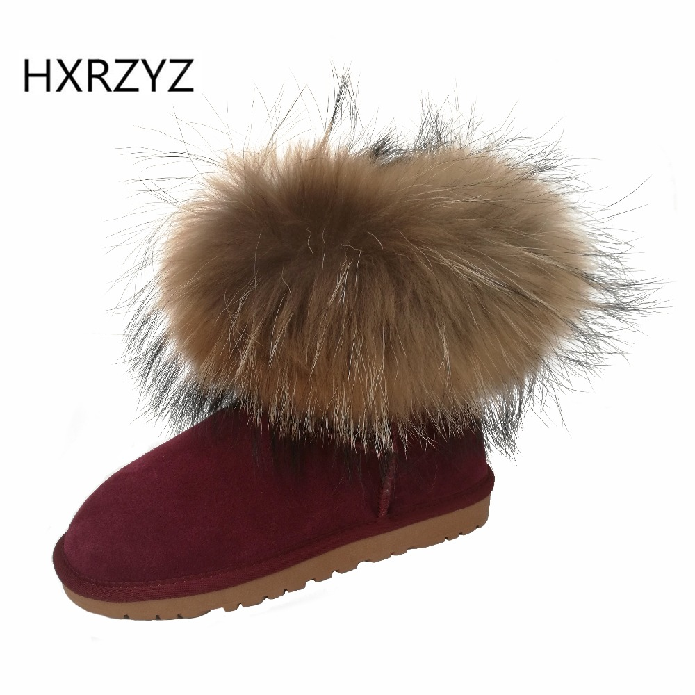 Details about women luxury diamond fashion snow boots rabbit fur boots - Hxrzyz New Fashion Boots Of Genuine Leather Women S Winter Fox Fur Boots Women S Snow Shoes Ladies