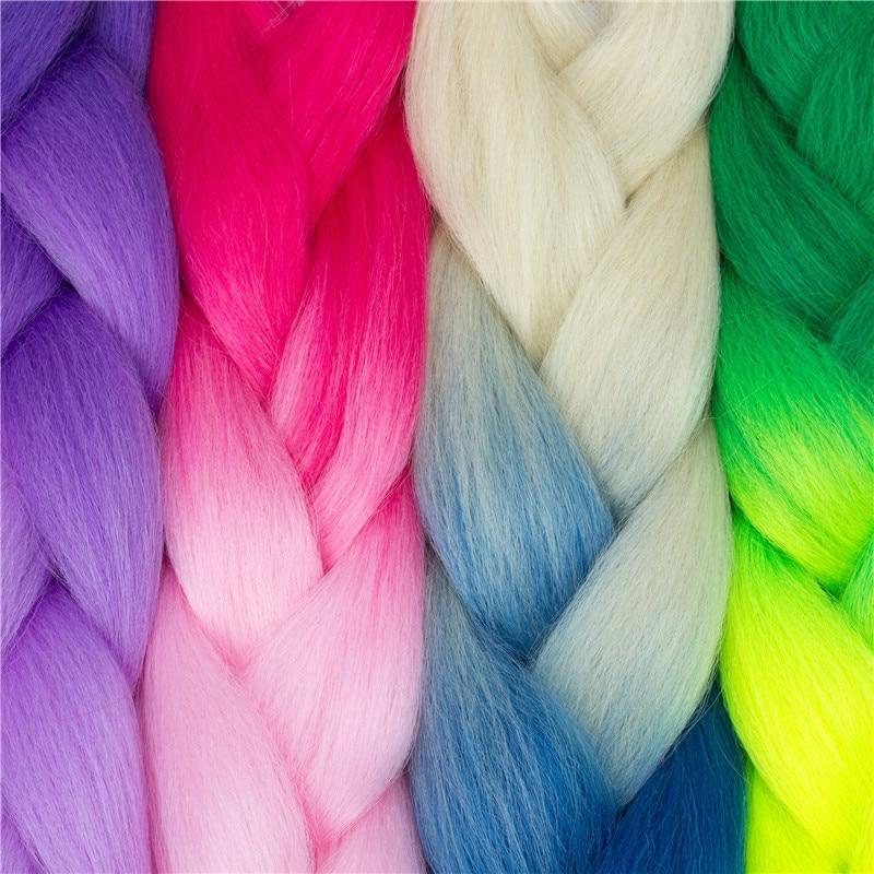 Miss Rola Ombre High Temperature Fiber Braiding Synthetic Crochet Jumbo Braids 24″ 100g Rainbow Ombre Tone Color Braiding Hair
