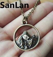 50pcs Mountain Range Pendant mama bear necklace Camping Outdoor Life Nature Necklace Tree necklace Mountain Range Jewelry SanLan