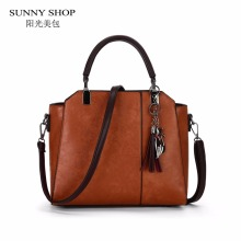 SUNNY SHOP 2018 New Metal Top Handle Tote Bag Tassel Women Purse And Handbags Vintage OL Business Shoulder Bags For Women(China)