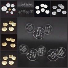 50 pcs Personalized Engraved Mirror / Clear Acrylic Circle Wedding Table Centerpieces Decoration Favors Candy Box Tags