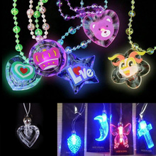1Pc Random Color Trend Creative Luminous Necklace Toys Party Light Up Flashing Cartoon Led Necklace(China)
