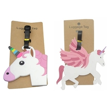 Travel Accessories Unicorn Luggage Tag Creative Silica Gel Suitcase ID Address Holder Baggage Boarding Tags Portable Label(China)