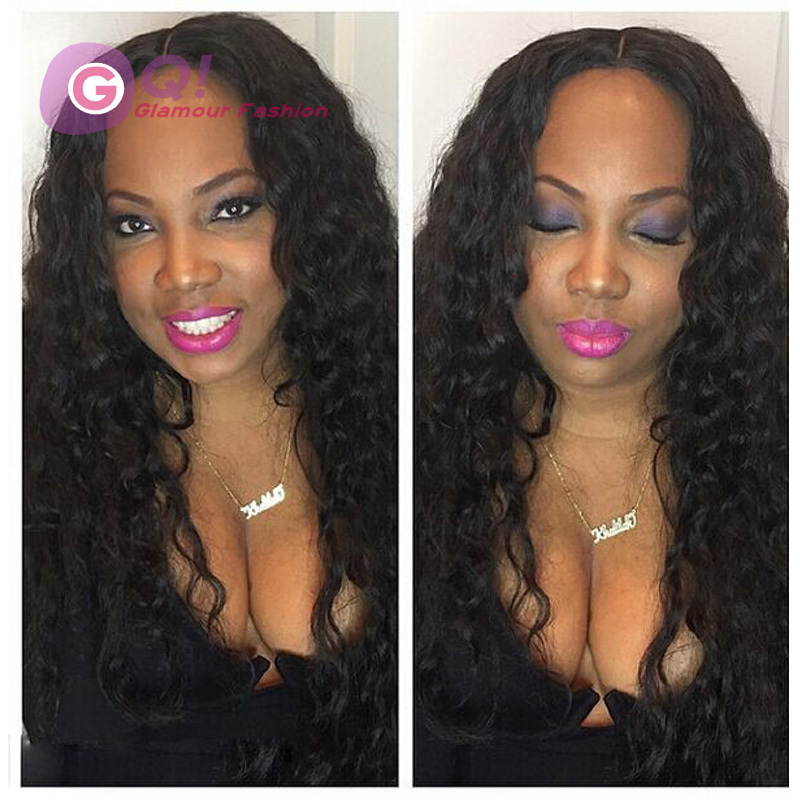 GQ deep wave u part wig 100% brazilian u part human hair wigs middle part lace front wigs for black women natural 130% density<br><br>Aliexpress
