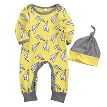 2Pcs New Autumn Spring Newborn Infant Baby Boys Fashion Long Sleeve Paper Airplane Print Romper Jumpsuit+Hat Outfits Set Clothes
