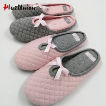 indoor slippers plush ladies cotton fabric rihanna slides fur flip flops shoes house home with women platform bow faux s166(China)