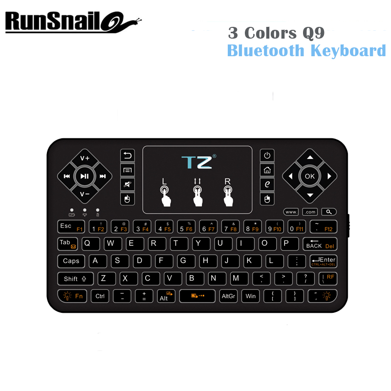 Original Mini 3 Colors Q9 Bluetooth Wireless Keyboard Air Mouse Remote Control Touchpad For Android Tv Box Notebook Tablet Pc(China (Mainland))