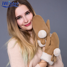 IWINTER 2018 New Fashion Winter Gloves For Woman Cashmere Full Finger Mittens Knitted Girls Gloves Casual Warm Mittens Gloves(China)