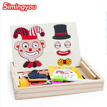 Simingyou Jouet Enfant Wooden Clown Magnetic Double-sided Puzzle Drawing Board Montessori Baby C20-Q-27 Drop Shipping(China)