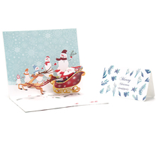 Merry Xmas 3d stags Pop up card Happy New Year Origami Santa Christmas card postcard holiday children gift of Happy Christmas(China)