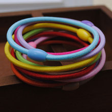 10pcs/lot 3mm candy color plastic oval beads ponytail holder stretchy hair rubber band elastics hair tie girls hair accessories