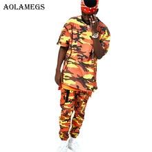 Aolamegs camuflaje Cargo pantalones hombres Hip Hop Pantalones Casual Baggy  Tactical pantalones bolsillos algodón 2017 Pantalones 729b36e36e0
