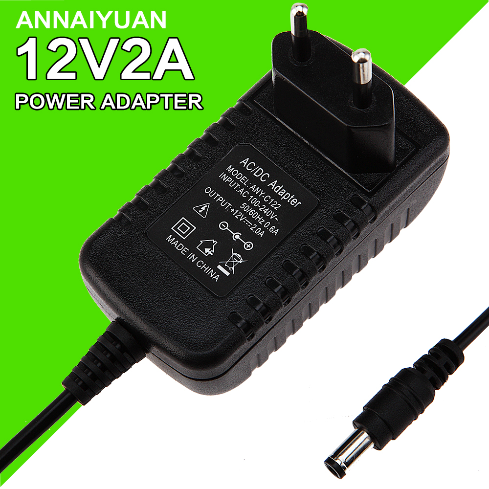 1PCS 12V2A AC 100V-240V Converter Adapter DC 12V 2A 2000mA Power Supply EU Plug 5.5mm x 2.1-2.5mm for LED CCTV<br>