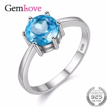 Gemlove Certificate 925 Sterling Silver 1.5ct Blue Topaz Real Diamond Jewelry for Women Wedding Rings with Free Box 40%off FJ063