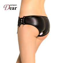 Buy Comeondear Plus Size M-3XL Leather Panty Crotchless Tanga Sexy Black Women Underwear Panties Bandage Erotic Briefs Mujer PP5125
