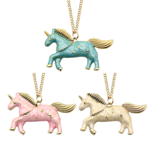 DIY Trendy Unicorn Pendant Cartoon Cute Running Horse Choker Necklace Gold Chain Necklaces&Pendants Christmas Gift Drop Shipping(China)