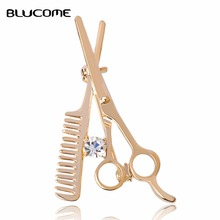 Fashion Gold-color Wedding Combs Scissors Brooch Dress Collar Pins Women Girls Kids Scarf Hats Clips Corsage Jewelry Bijoux(China)