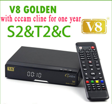 Best cccam server V8 Golden COMBO decoder Satellite TV turner dvb t2 satellite receiver dvb-s2 with one year europe cccam cline