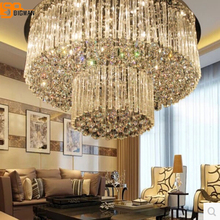 Free shipping new design 2 layers crystal lamp Dia800*H360mm modern lustre crystal chandelier hotel lobby light(China)