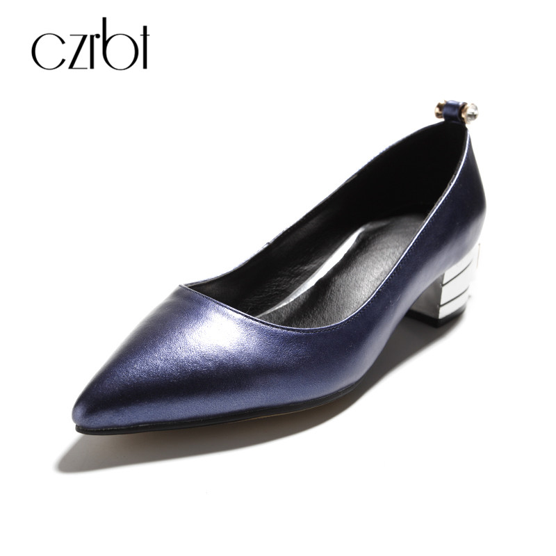 CZRBT Elegant Wedding Shoes For Women Pumps High Heels 4cm with Crystal And Soft Solo Genuine Leather Women Handmade Party Shoes<br>