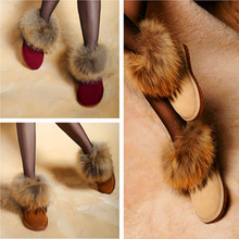 Fox Fur Genuine Leather Boots Woman In Tube Snow Boots Tendon Winter Boots For Women Faux Fur Couples Shoes Plus Size 40