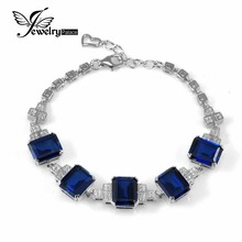 JewelryPalace Luxury 22ct Blue Created Sapphires Bracelet 925 Solid Sterling Silver Engagement Wedding Jewelry Gift For Women(China)