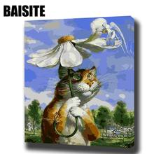 BAISITE DIY Framed Oil Painting By Numbers Animal Pictures Canvas Painting For Living Room Wall Art Home Decor E739(China)