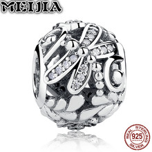 Vintage 925 Sterling Silver Dragonfly Meadow Charm Beads Fit Original Pandora Bracelet Pendant Authentic DIY Women Jewelry Gift