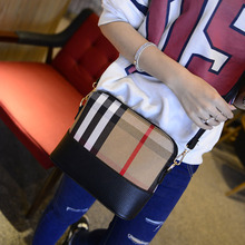 Vintage Small Women Messenger Shoulder Satchels Plaid Grid Leather Party Shell Bag Popular
