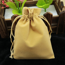 7x9cm Light Brown Jewelry Bag Velvet Pouch Gift Bags With Drawstring Jewellery Packaging Wholesale Lots 50PCs Jewelry Pouches(China)
