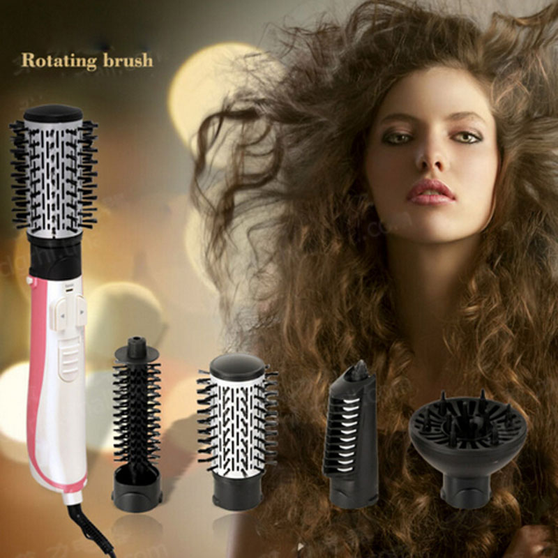 CHJ Hair Dryer Brush  Rotating Hair Dryer Automatic Hair Brush Dryer Multifunctional Ionic Hair Styler Ceramic Only Sliver 220V<br>