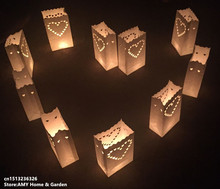 Free shipping 10PCS Wedding Heart Tea Light Holder Luminaria Paper Lantern Candle Bag Home Valentines Day Gifts Party Decoratio