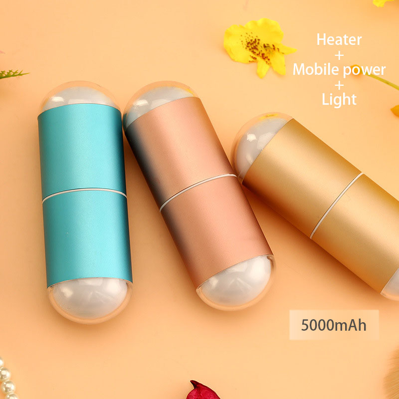 Rechargeable USB Capsule HandWarmer&amp;Mobile Power Night Light Portable Aluminum Alloy Heating Charging Warm Baby <br>