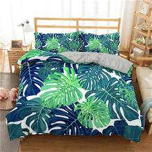 Boniu 3D Duvet Cover Set Tropical Plant Bedding Set Green Leaves Printed Bedspread With Pillowcase Single Size Luxury Bed Set(China)