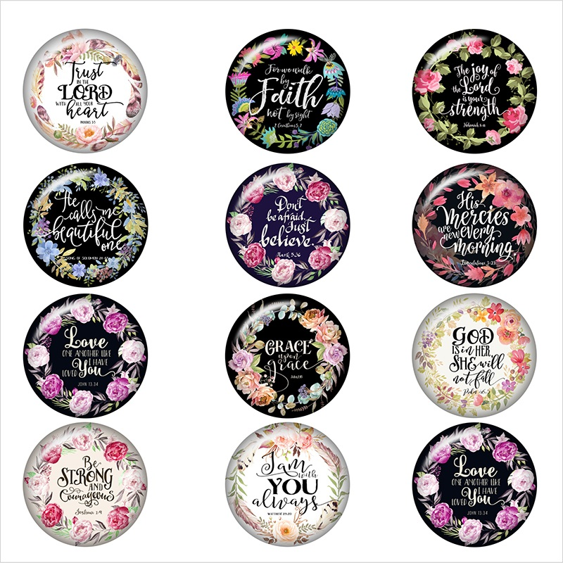 word-flower-love-FAITH-glass-snap-button-DIY-jewelry-Round-photo-cabochons-flat-back-DA1189